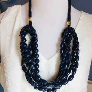 Chico's Navy Multi Strand Statement Necklace-NWOT